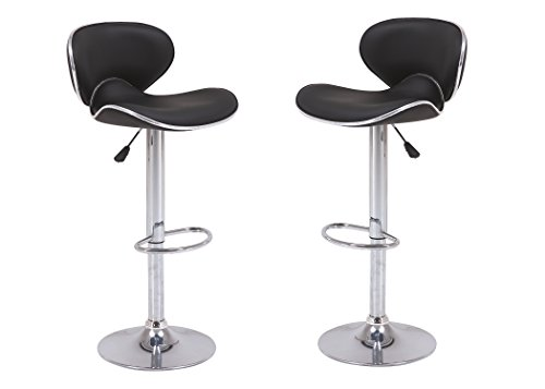 Vogue Furniture Direct VF1581046-2 Adjustable Height Swivel Barstools with Footrest (Set of 2), Black