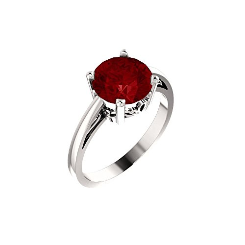 Bonyak Jewelry Lab-Created Ruby 14k White Gold Chatham Created Ruby Ring - Size 7