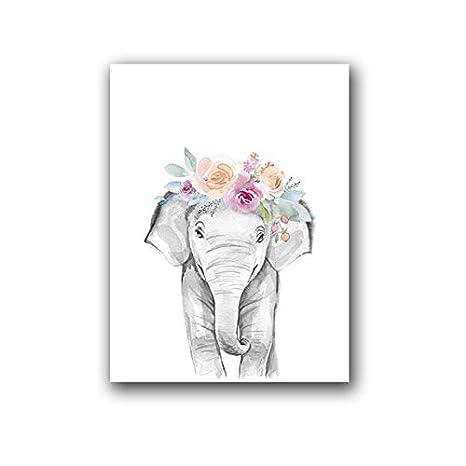 ndegdgswg Cartel de Jirafa, Animal Corona Flor Art Deco ...