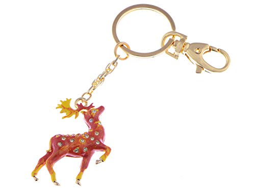 (Alilang Enamel Handpainted Synthetic Topaz Crystal Rhinestone Red Golden Stag Deer Clip Key Chain)
