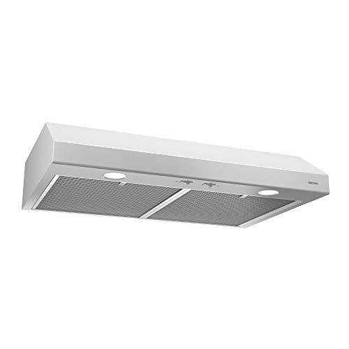 Broan-NuTone BCSD124WW Glacier Range Hood with Light, Exhaust Fan for Under Cabinet, White, 0.6 Sones, 250 CFM, 24″