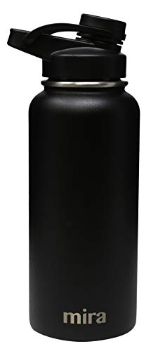 MIRA 32 oz Stainless Steel Insulated Sports Water Bottle   Metal Thermos Flask Keeps Cold for 24 Hours, Hot for 12 Hours   BPA-Free Spout Lid Cap   Black