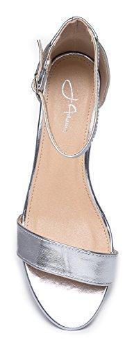 J. Adams Daisy Mid Heel Sandal, Silver PU, 10 B(M) US by J. Adams (Image #5)