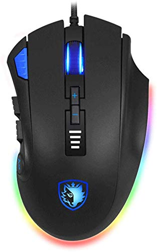 SADES Axe Gaming Mouse 12 Programmable Buttons, RGB Backlit, 6 DPI Adjustable Levels, Comfortable Grip Ergonomic Optical Sensor PC Computer Gaming Mice with Wired Braid USB Cables