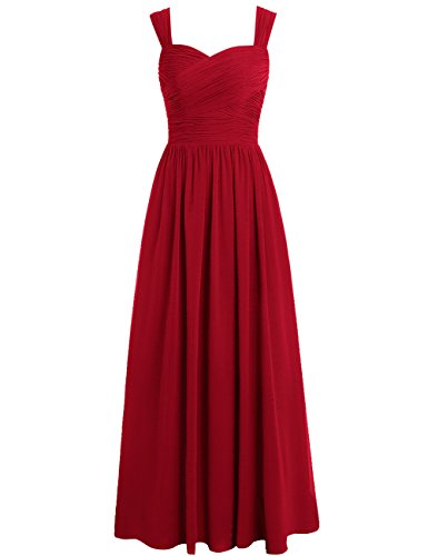 (EDressy Bridesmaid Dresses Long Chiffon Formal Evening Gowns Wedding Prom Party Dress Sleeveless Burgundy US 26W)