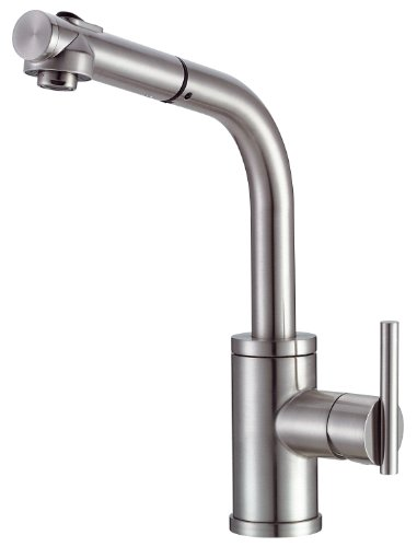 Danze D404058SS Parma Single Handle Pull-Out Kitchen Faucet with SnapBack Retraction, Stainless - Faucet Kitchen Danze Union Globe