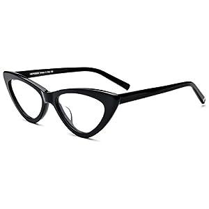 HEPIDEM Acetate Women Sexy Cateye 2018 Glasses Frame Spectacles Eyewear 9104P (Black)
