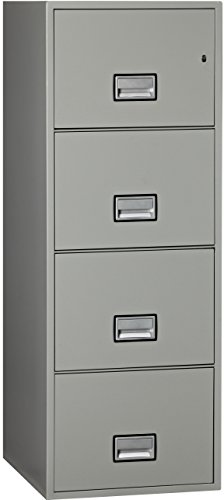 Light Gray Vertical 4 Drawer (Phoenix Vertical 25 inch 4-Drawer Legal Fireproof File Cabinet - Light Gray)
