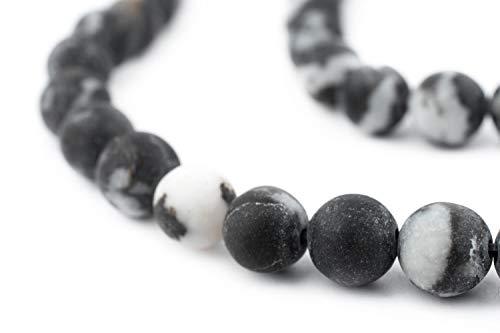 TheBeadChest Round Matte Zebra Jasper Beads (8mm): Organic Gemstone Round Spherical Energy Stone Healing Power for Jewelry Bracelet Mala Necklace Making