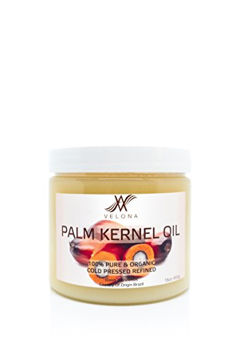 100% Organic Palm Kernel Oil by Velona | All Natural Oil for Soap Making, Cooking, Hair, Body, Skin & Face Care| Refined, Cold Pressed | Size: 16 OZ