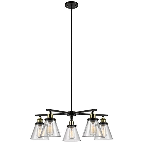 5 Light Dining Room Chandelier - Globe Electric Shae 5-Light Vintage Edison Chandelier, Bronze Color, Oil Rubbed Finish, Antique Brass Decorative Sockets, Clear Glass Shades 65617