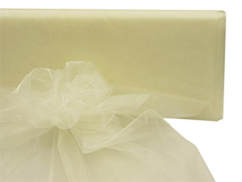 Custom Roll Ivory Runner (BalsaCircle 54-Inch x 40 yards Ivory Sheer Organza Fabric by the Bolt - Sewing Craft Wedding Party Draping Supplies)