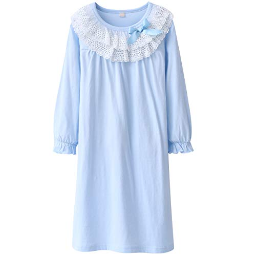 DGAGA Kids Girls Cotton Lace Nightgown Long Sleeve Solid Sleepwear Top Dresses Blue 5-6 Years /130cm -