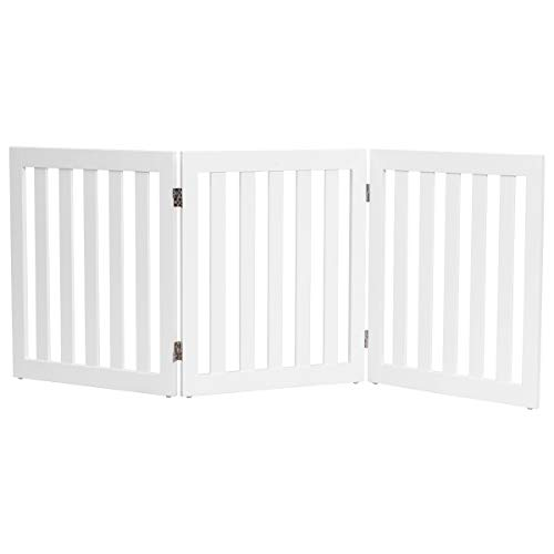 - Giantex 24'' Wooden Dog Gate, Configurable Freestanding Pet Gate for Small to Medium Sized Pets, Step Over Fence, Foldable Panels for House Doorway Stairs Extra Wide Pet Safety Fence (60'' W, White)