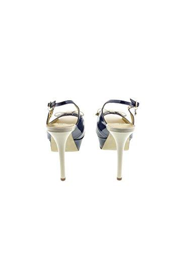 Guess - Sandalias de vestir de Piel para mujer azul blanco y azul