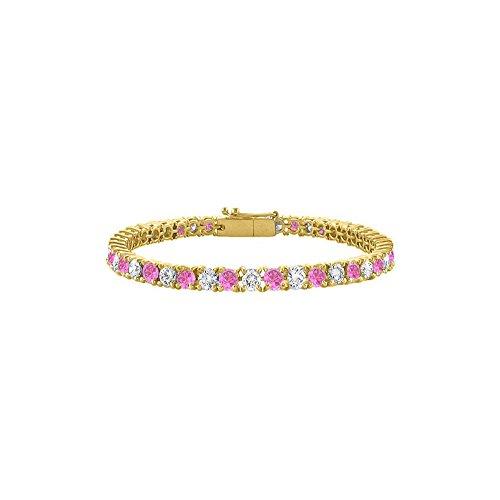 7ct Sapphire Bracelet - LoveBrightJewelry Tennis Bracelet Created Pink Sapphire Created with CZ 7CT TGW on 18K Yellow Gold Vermeil. 7 Inch