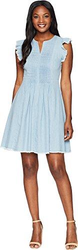 Sleeve Pintuck Dress - CE CeCe Women's Flutter Sleeve Denim Pintuck Dress Ocean Drift 6