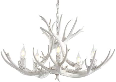 JONATHAN Y JYL6300B Eldora 30″ Adjustable Resin Antler 5-Light LED Chandelier Glam,Transitional,Rustic,Cottage Dimmable