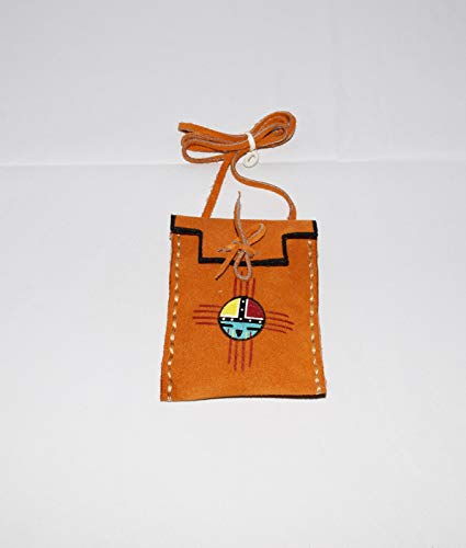 Leather Medicine Bag with Traditional Hand Painted Sun Face Design ()
