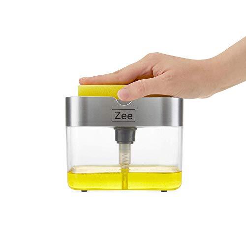 ZEE Products 2 in1 Kitchen Liquid Soap Pump Dispenser ABS Sponge Holder Press Countertop Rack