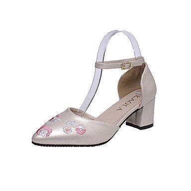 Buckle Party Gold 4in Chunky Heel Blushing US8 Women'sHeels EU39 UK6 Summer Comfort Pink Comfort Dress 2in PU Spring CN39 3 amp; 2 Black Flower Evening White wX1qXOz