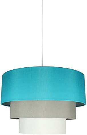 Urbanest Renzo 3-Tier Shade Pendant with Hanging Light Kit, Teal, Moss Gray, and Eggshell Silk, 18-inch Diameter, 12-inch Height