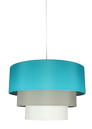 3 Tier 12 Light Pendant - Urbanest Renzo 3-tier Shade Pendant with Hanging Light Kit, Teal, Moss Gray, and Eggshell Silk, 18-inch Diameter, 12-inch Height