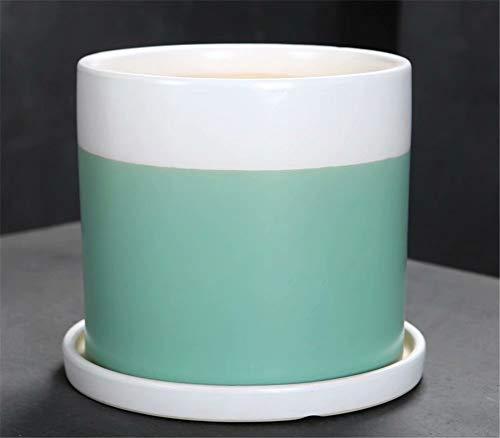 - Green White Large Ceramic Pot Green Plant Container, Contemporary Square Design Succulent Plant Pot/Cactus Plant Can