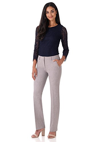 Rekucci Women's Smart Stretch Desk to Dinner Straight Leg Pant w/Zipper Closure - Detail Leg Wide Trousers