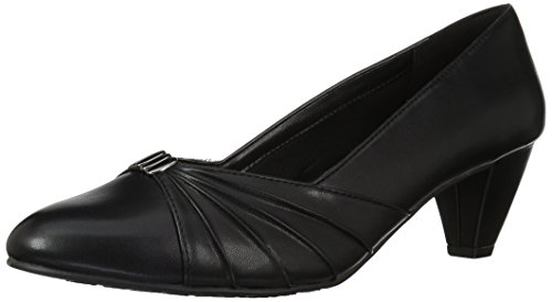 Soft Style by Hush Puppies Women's Dee Dress Pump, Black Kid/Patent, 9 W US - Kid Leather Pump