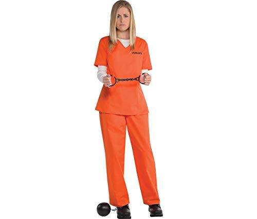 Orange Prisoner Costume for Women, Standard, by Amscan ()