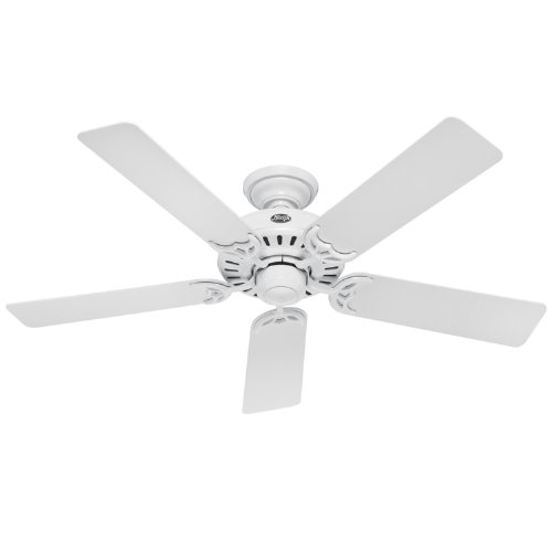 Hunter 25517 Summer Breeze 52-Inch 5-Blade Ceiling Fan, White with White/Bleached Oak Blades ()