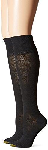 Gold Toe Women's Non-Binding Knee High Sock, Black, 9-11 (Pack of 2)