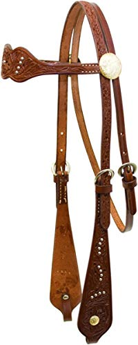 Billy Cook Saddlery Triple Scalloped Dots Floral Tooled Browband ()