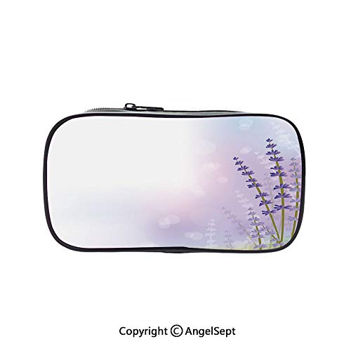 (Cute Pencil Case - High Capacity,Nature Inspired Abstract Backdrop with Gentle Pastel Lavender Stems Decorative Violet Olive Green Lilac 5.1inches,Multifunction Cosmetic Makeup Bag,Perfect Holder for)