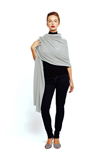 Super Soft Oversized 100% Cashmere Travel Blanket Scarf Wrap - Pearl Grey by Anna Kristine