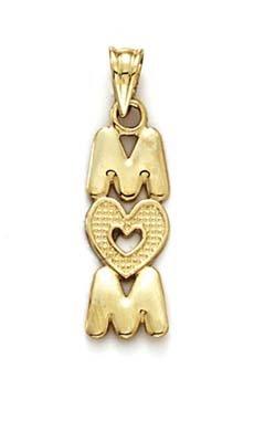 Empilable Mom 14 Carats Pendentif Lettre JewelryWeb