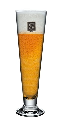 Personalized Footed Pilsner Beer Glass - Monogram Initial Pewter Engraved Crest - Novelty for Weddings, Birthdays or any Special Occasions - Pick Your Letter (H, 18OZ)
