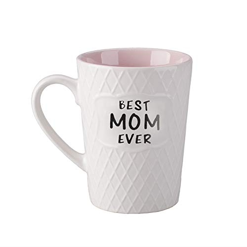 Ynsfree-Best mom ever-16 OZ Coffee & Tea Mug-Mother's Day Gifts Cute Mug-Gifts for Mom,Mothers, Ladies,Women, Wife,Valentine's Or Anniversary-Birthday's Gift Ceramic Office Handle Pink Cup