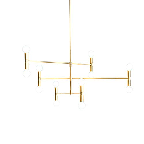 YOKA Modern Pendant Lighting Ceiling Chandelier Hanging Lamp with 12 Lights Fixture Flush Mount, Gold Finish