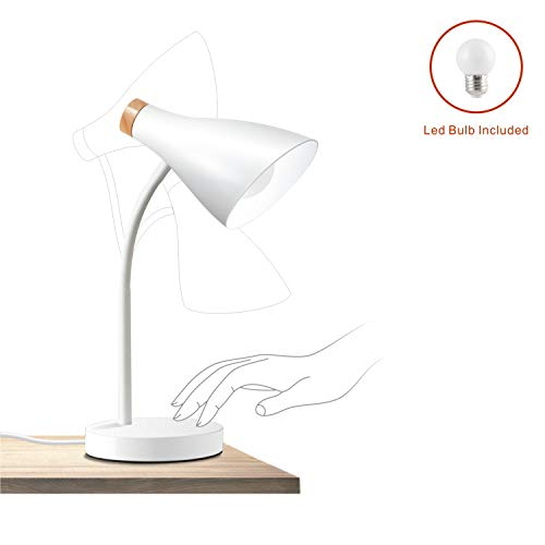 (AMEZIN 7w E27 LED Touch Control White Iron Desk Lamp,Adjustable Flexible Eye Caring Plug in Modern Wood Office Dorm Cabinet Table Light)