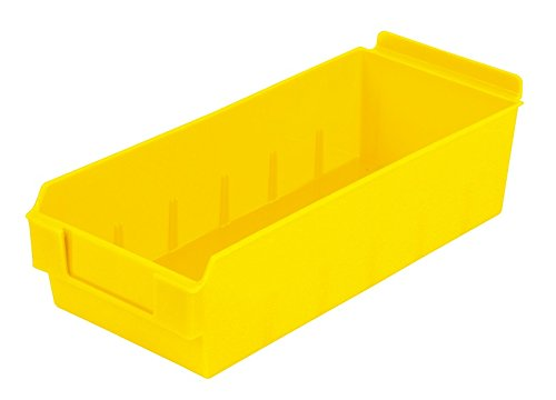 Plastic Yellow Fits grid and pegboard with optional adapters. Slatwall Storage // Display bin polypropylene 10 Pack 12.75L x 5.5W x 3.37H