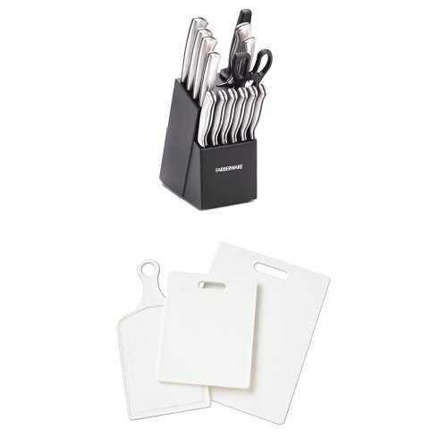 - Farberware 15-Piece Stamped Stainless-Steel Cutlery Set and 3-Piece Poly Board Set Bundle