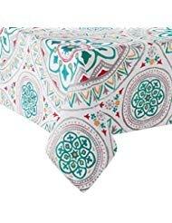 Food Network Medallion Print Zippered Umbrella Tablecloth Polyester Fabric (70 Round Umbrella)