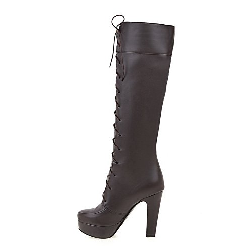 US Up Lace High Urethane M 5 High Boots Womens BalaMasa Round B ABL09742 Toe Brown Heel Platform Solid Thigh 7UBIq5qxnw