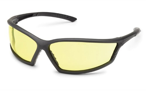 Gateway Safety 41GB75 4x4 Contemporary Wraparound Safety Glasses, Amber Lens, Black (Outdoor Amber Lens)