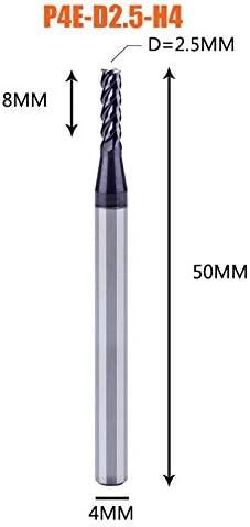GENERICS LSB-Werkzeuge, 1 stück hartmetall-schaftfräser 4 nuten d1-d12 CNC-schaftfräser for die stirn- und schlitzbearbeitung hrc50-beschichtete schaftfräser (Cutting Edge Length : 1PC P4E D2.5 H4)