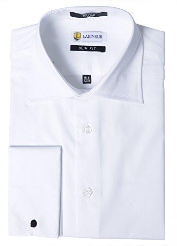 Labiyeur Men's Slim Fit French Cuff Textured Dress Shirt 17.5 | 34-35 White (Textured Mens Dress Shirt)