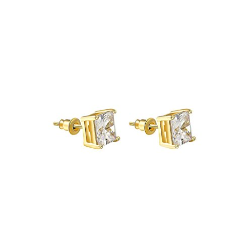 Shepherds Costume Diy (Bishilin Gold Plated Womens Stud Earrings Four Claws Cushion Cut Cubic Zirconia Gold Earrings)