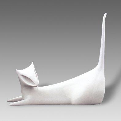 Royal Dux Bohemia White Porcelain Cat - Kocka Figurine Czech Made